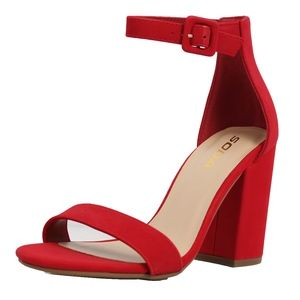 Shoes - Red Faux Nubuck Leather Open Toe Ankle Strap Heel